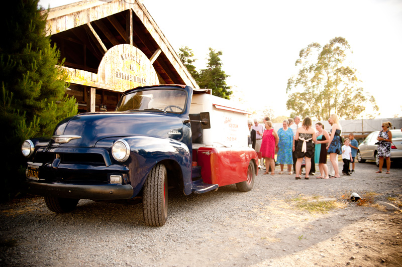 Vintage ice cream truck at wedding