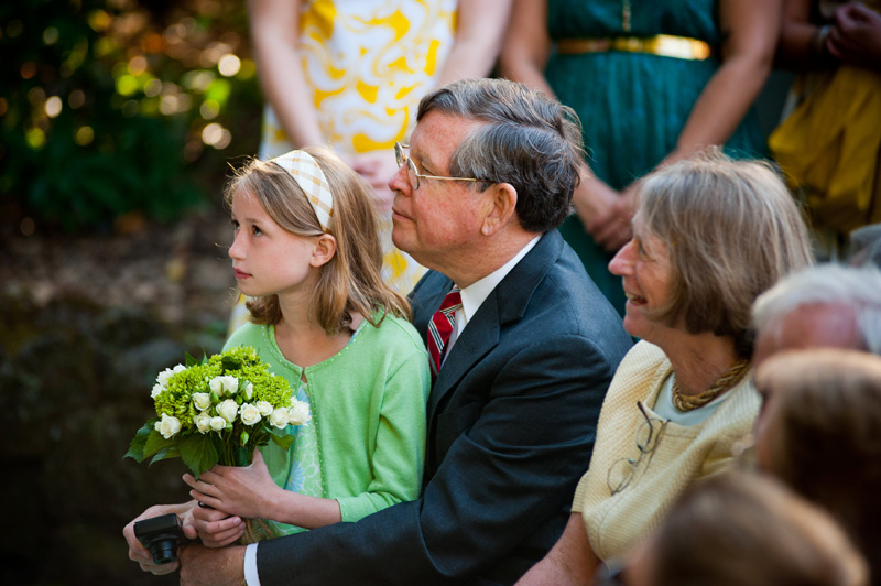 Family of bride watching ceremony at Lake Temescal wedding