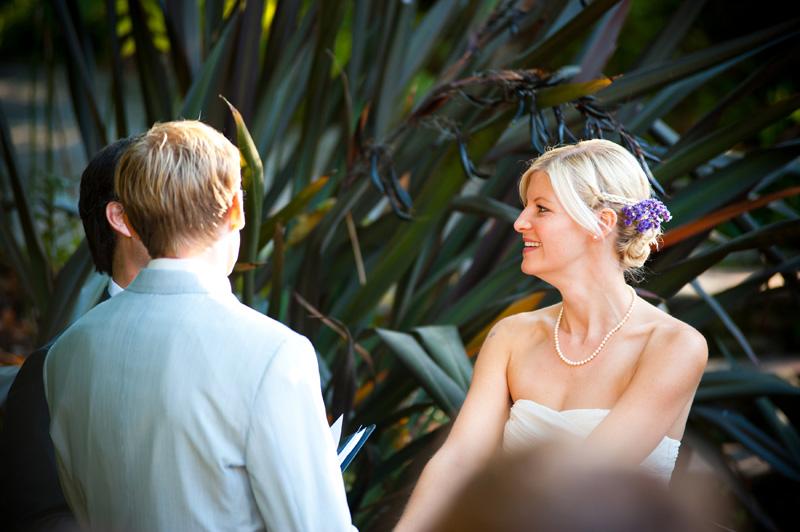 Bride during wedding ceremony in Oakland, CA
