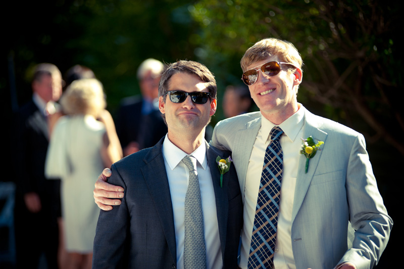 Groom with wedding officiant at Lake Temescal Beach House