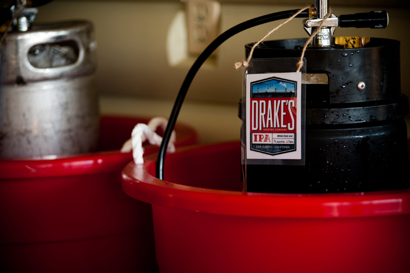 Beer kegs at Oakland wedding