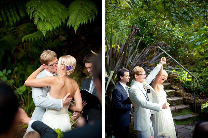Bride and Groom kiss after ceremony at Lake Temescal wedding