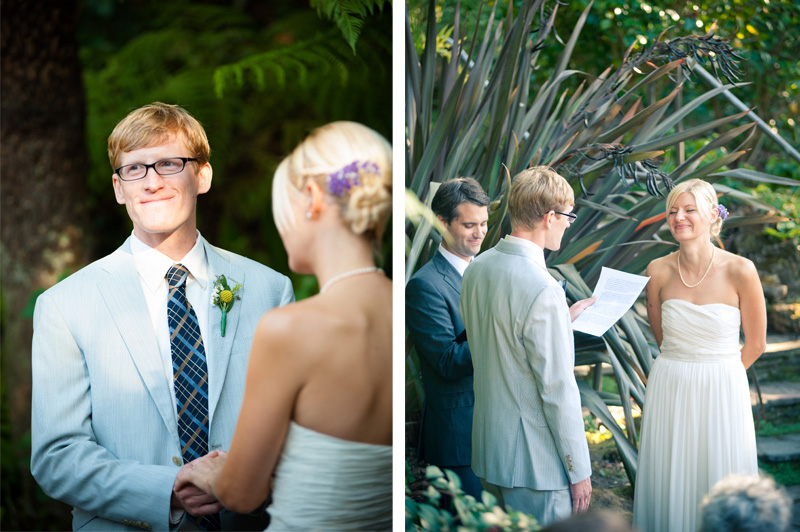 Bride and Groom exchanging vows during ceremony at Lake Temescal