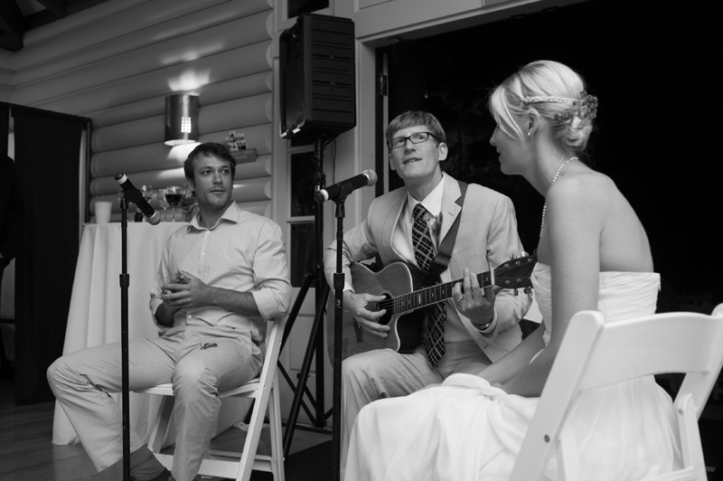 Groom playing guitar for Bride in Oakland, CA