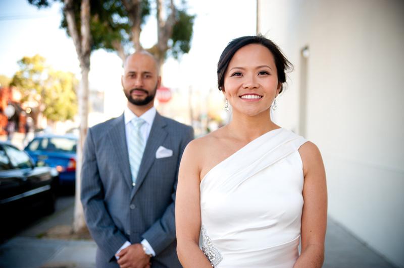 Portrait of Bride and Groom at San Francisco City Hall Wedding