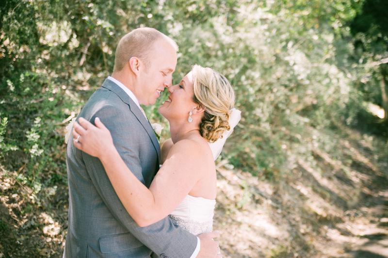 First look of bride and groom in Woodside, CA