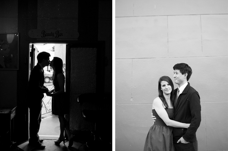 Black and White photo of engaged couple san francisco