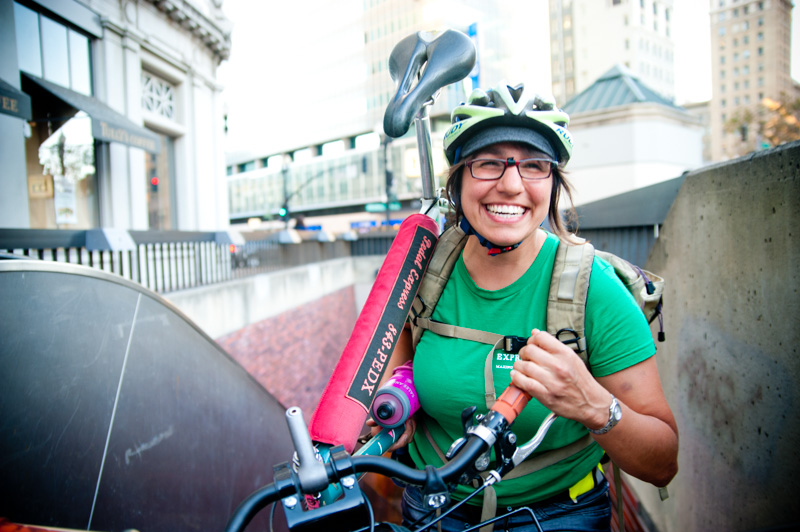 Portait of Pedal Express bike messenger at BART in Downtown Oakland