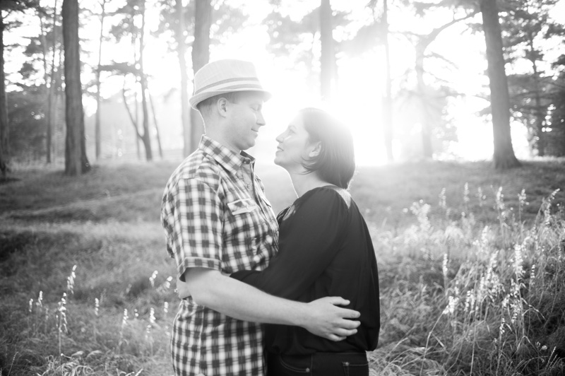 Presidio engagement session with golden evening light