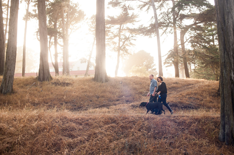 Engagement session with dog and golden light in San Francisco
