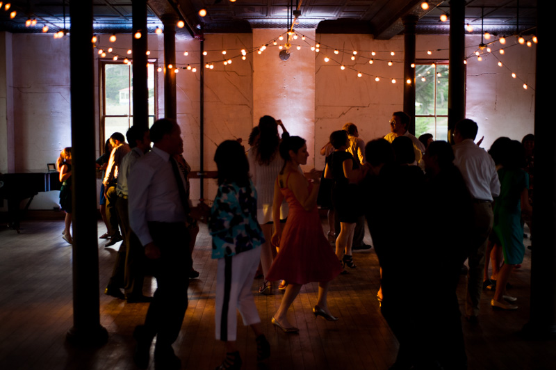 People dancing at wedding reception at Headlands Center for the Arts