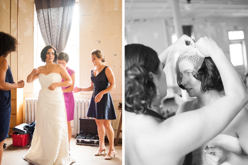 Friends helping bride get ready inside Headlands Center for the Arts