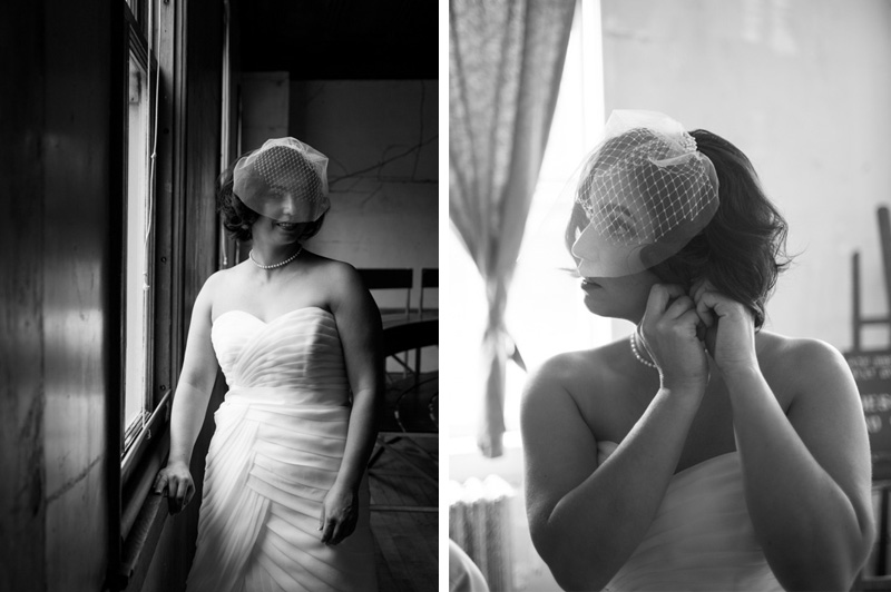 Black and white of bride at Headlands Center for the Arts