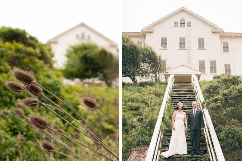 Bride and Groom on wooden stairs at the Headlands Center for the Arts