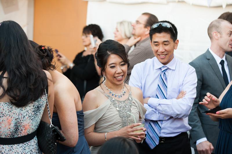 Bride greeting wedding guests