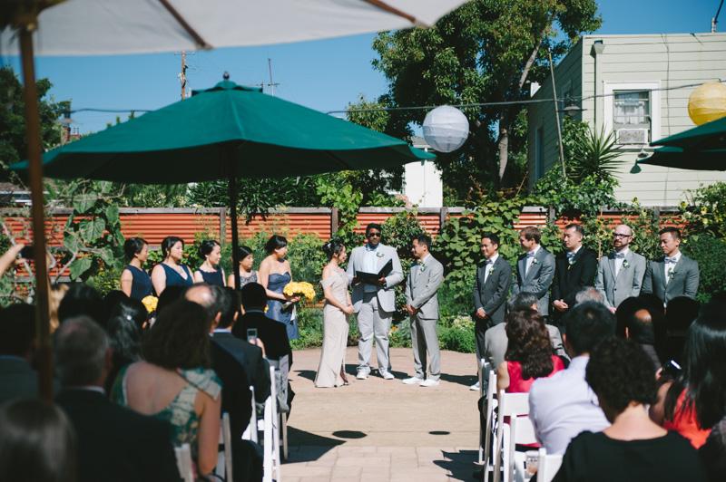 Backyard wedding ceremony in Oakland