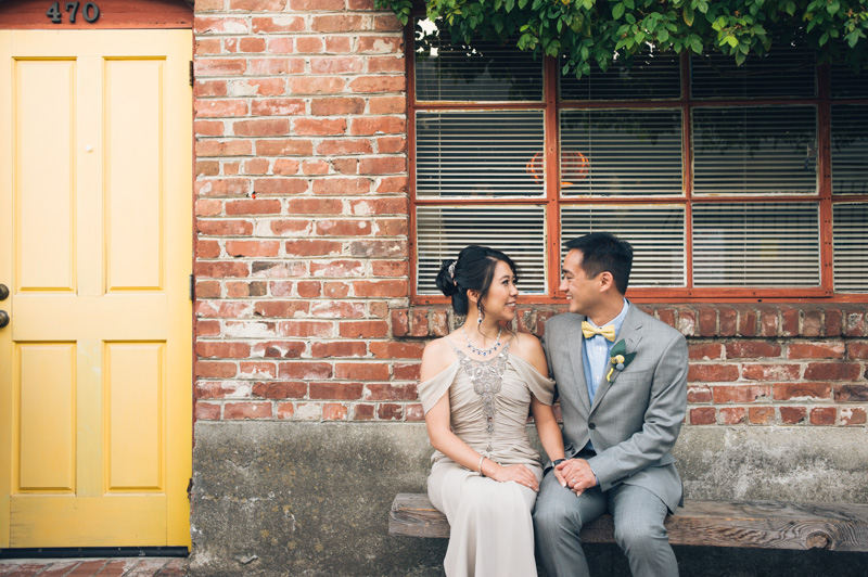 Bride and Groom in Temescal Alley in Oakland
