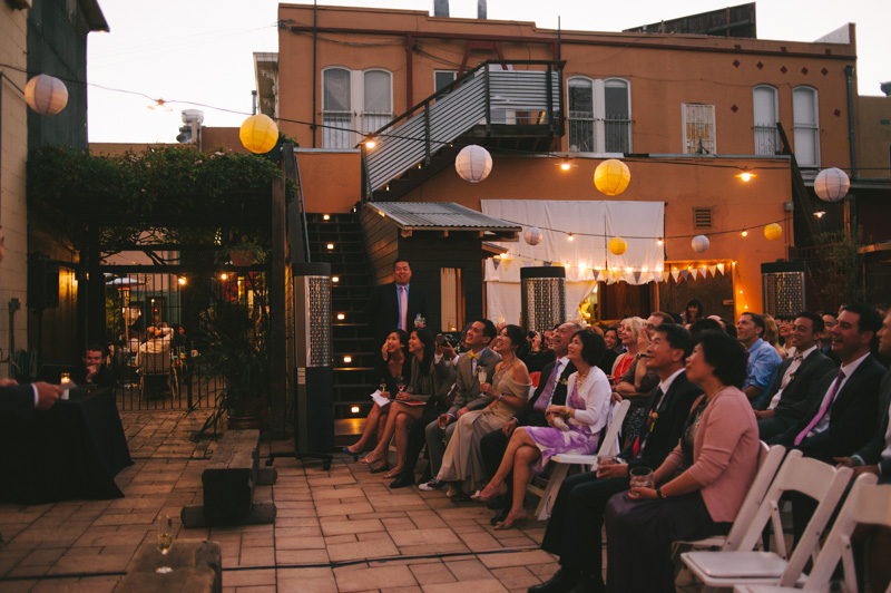 Pizzaiolo patio at dusk in Oakland