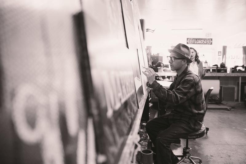 Portrait of local sign painter in Berkeley