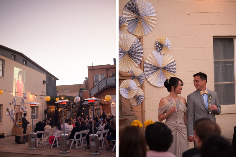 Wedding toasts on outdoor patio in Oakland