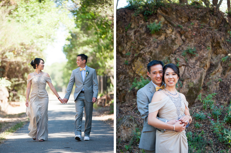 Bride and Groom walking at Lake Temescal in Oakland