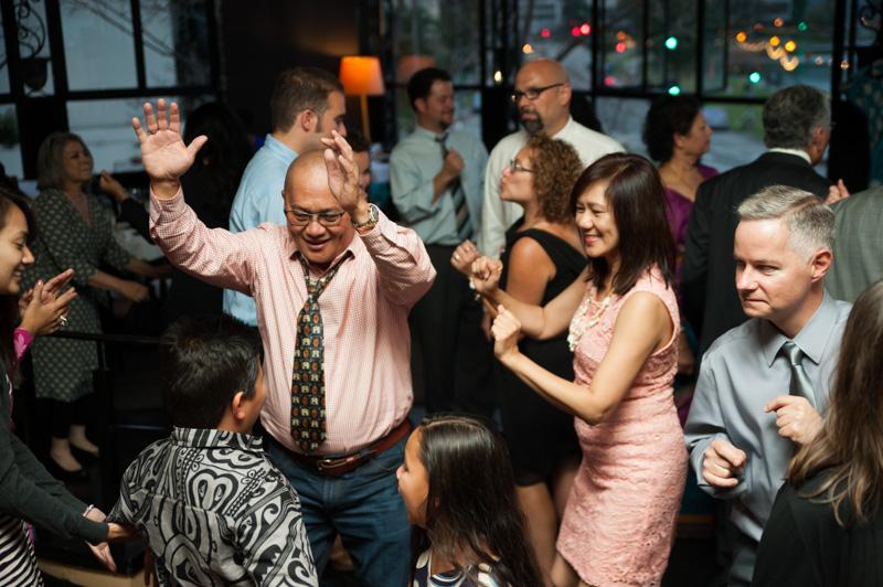 Wedding guests having fun in Oakland