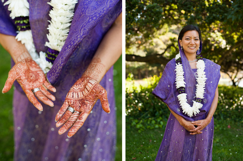 Detail of Henna on hands and portrait of Indian Bride