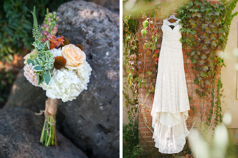 Bouquet on stone and wedding dress on ivy
