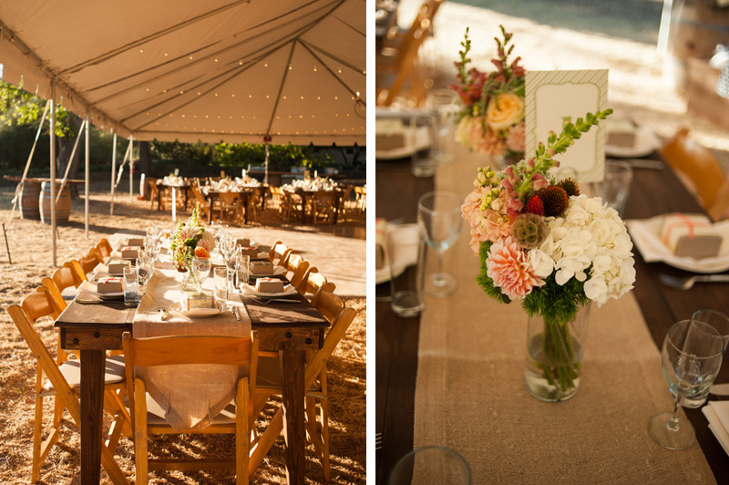 Rustic table settings at California wine country house wedding