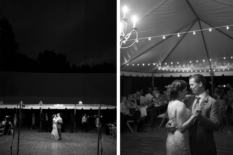 Black and white of first dance at California house wedding