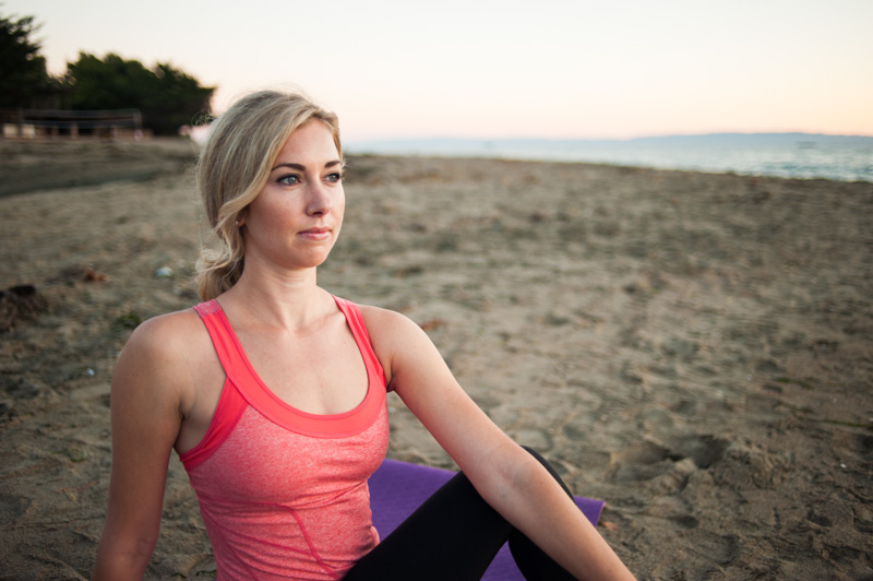 Portrait of pilates instructor on beach