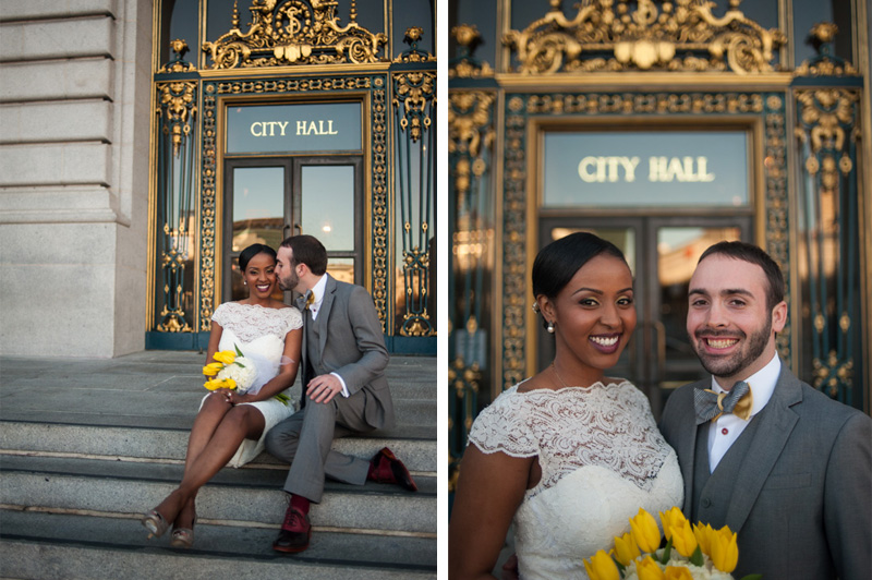 Bride and Groom sitting on City Hall steps in San Francisco