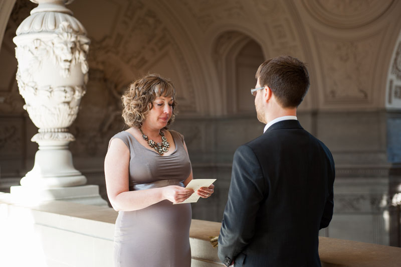 Bride reading vows to Groom at San Francisco City Hall