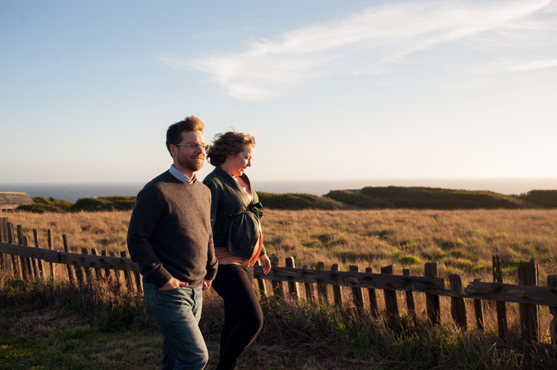Couple walking along trail in Sea Ranch, CA
