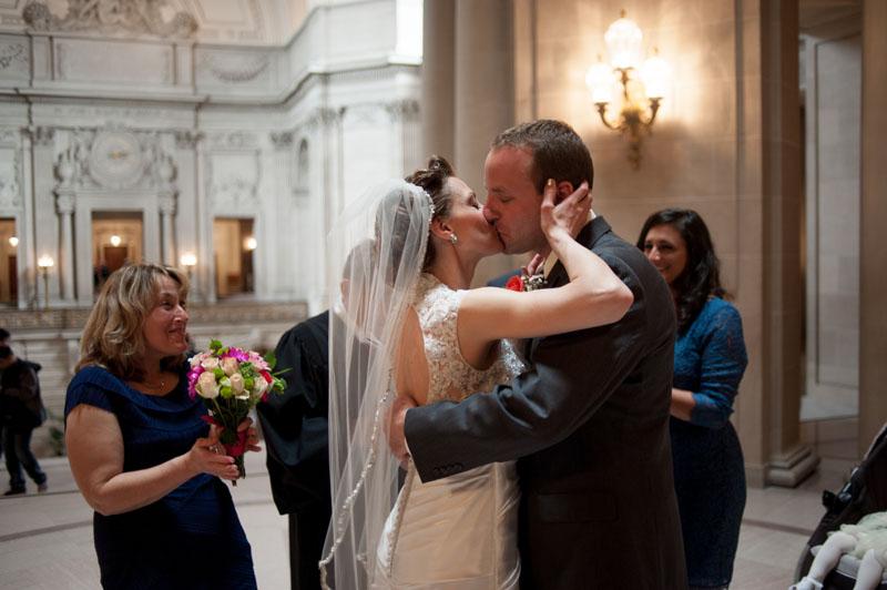 Bride and Groom kiss at San Francisco City Hall Wedding