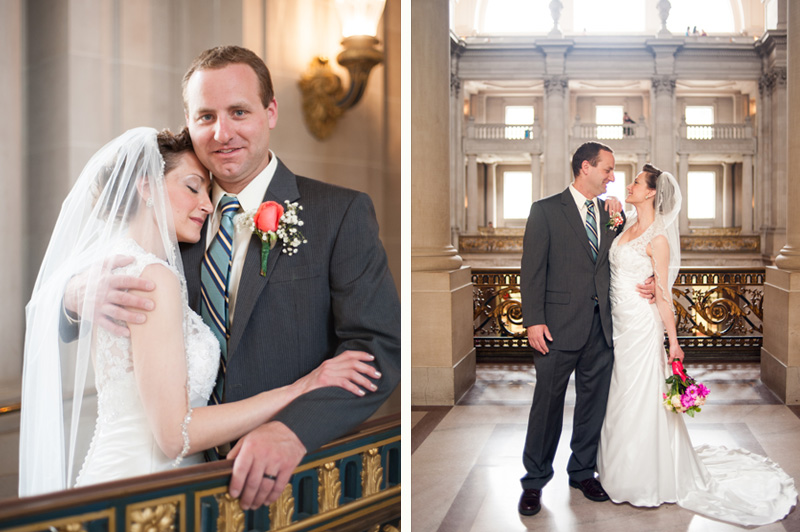 Portrait of Bride and Groom at San Francisco City Hall