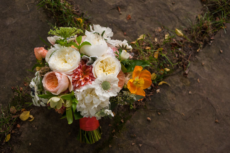 Detail of wedding bouquet on stone