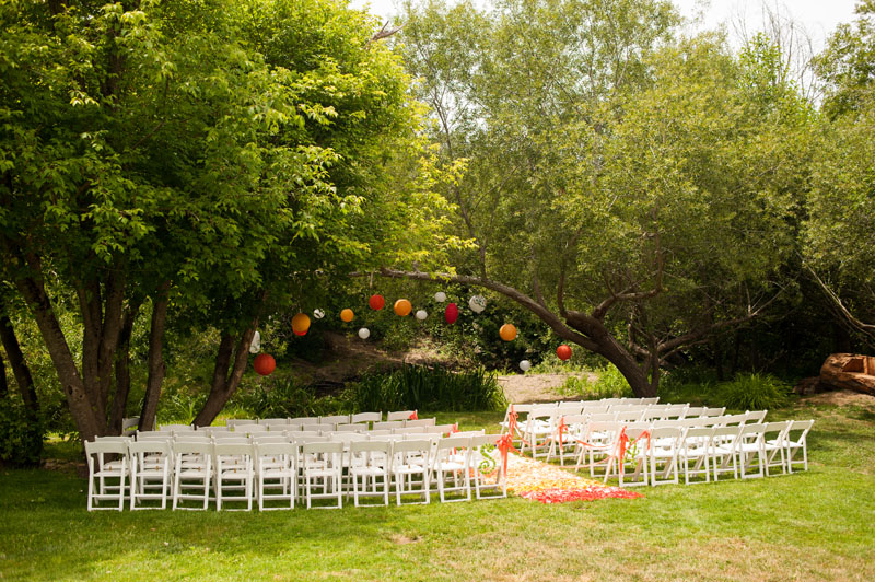 Wedding ceremony site with colorful paper lanterns