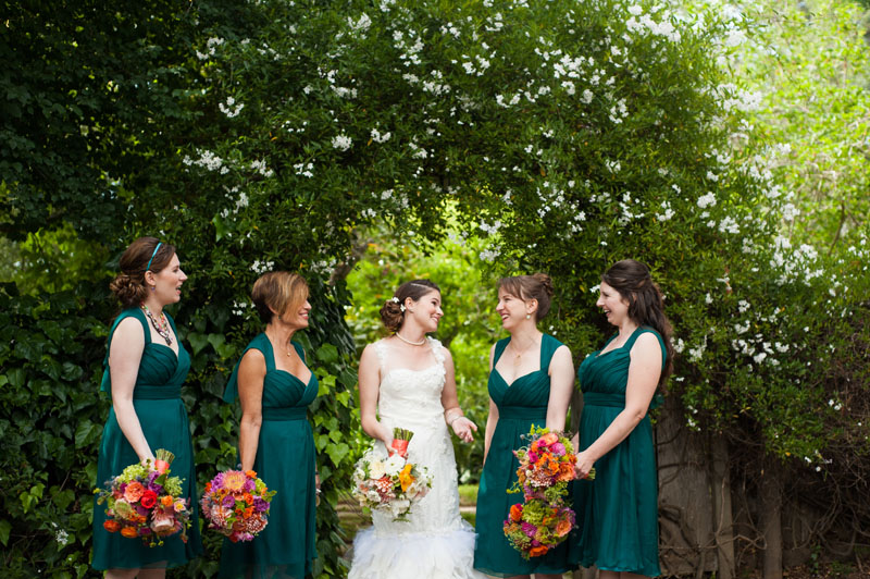 Candid photo of Bride and her bridesmaids at the Point Reyes Seashore Lodge
