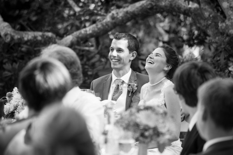 Bride and Groom laughing during reception at the Point Reyes Seashore Lodge