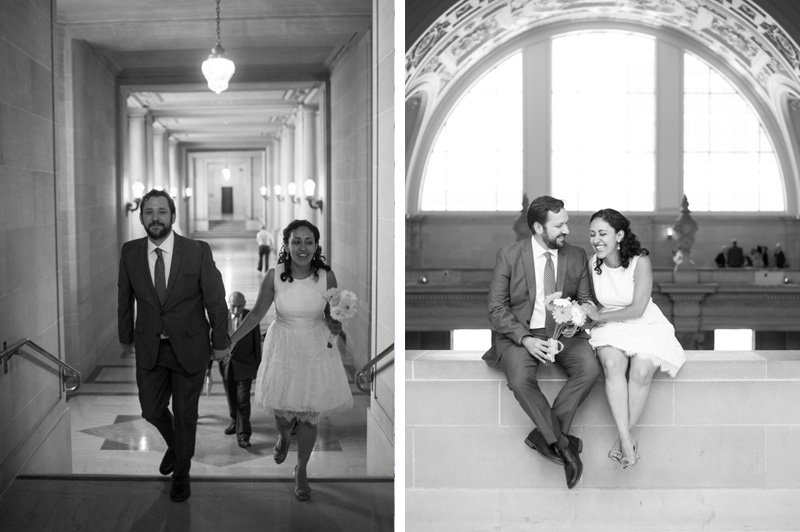 Black and white candid of couple at San Francisco City Hall