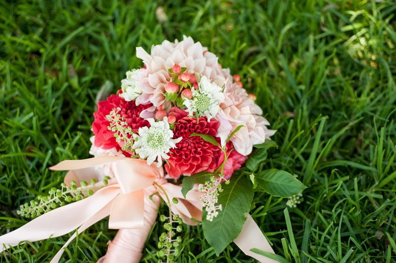 Wedding bouquet on grass near Lake Merritt