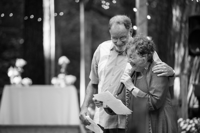 Mother and father of bride during toasts at Griffith Woods wedding