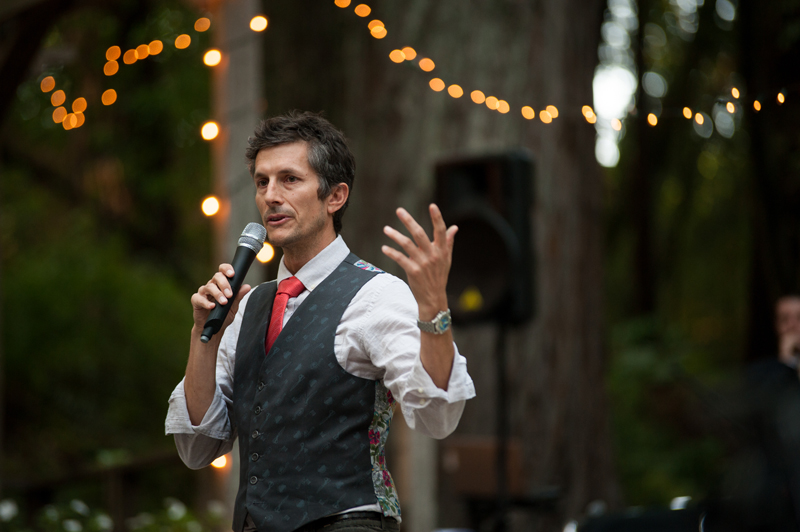 Brother of bride giving wedding toast at Griffith Woods in Santa Rosa
