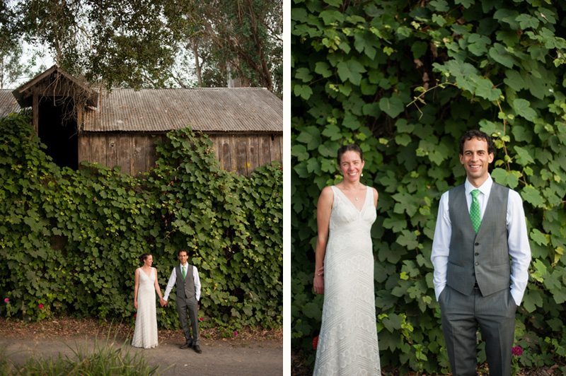 Bride and Groom in front of rustic barn at Griffith Woods in Santa Rosa
