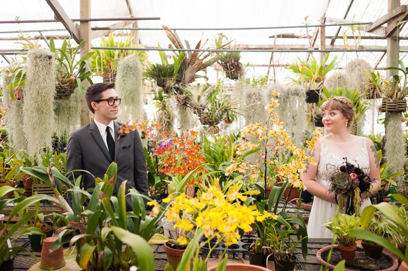 Bride and Groom inside greenhouse in Pacifica, CA