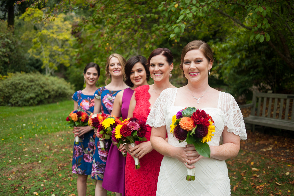 Bride and her bridesmaids at the UC Berkeley Botanical Gardens