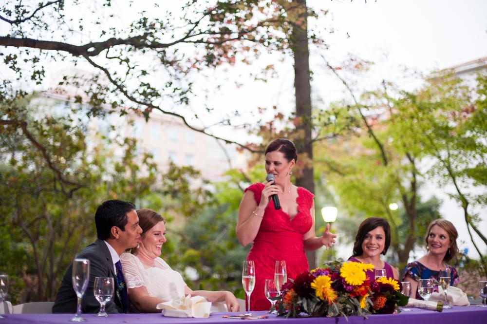 Bridesmaid giving speech at UC Berkeley wedding