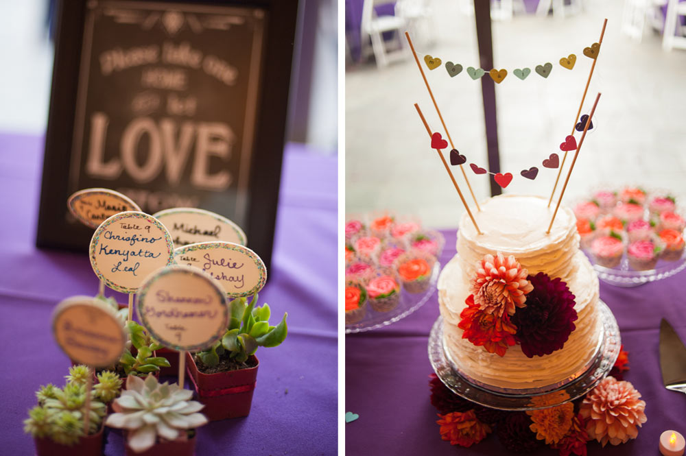 Succulent wedding favors and wedding cake