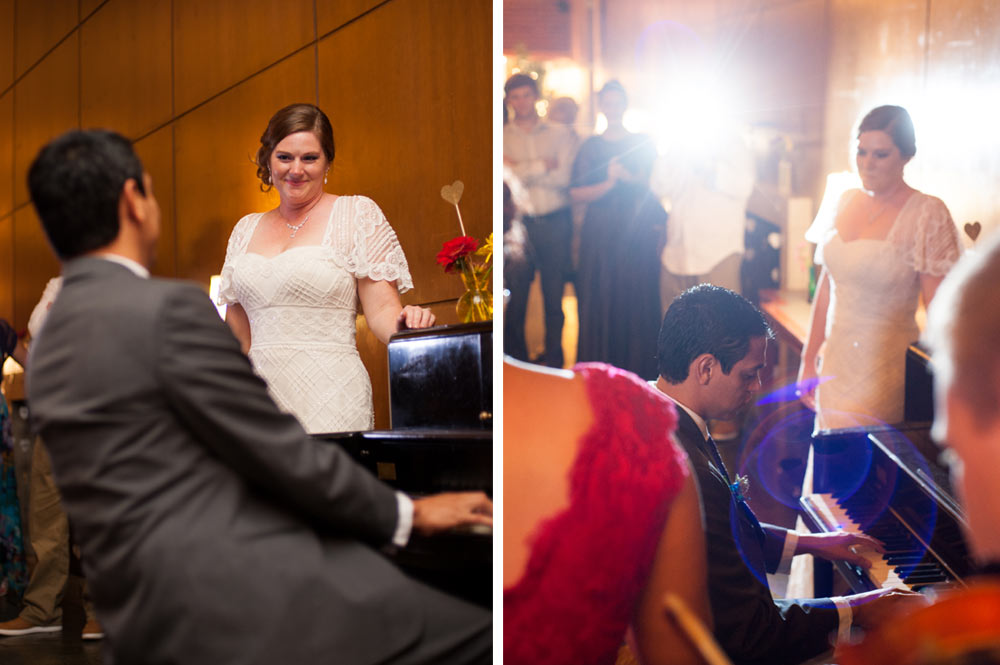 Groom playing piano for Bride at UC Alumni House